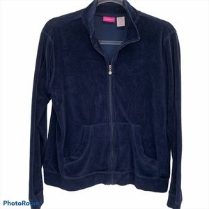 Pappagallo Navy French Terry Zip Up Jacket Size M